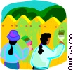 Vector Clip Art image  of a children painting the fence
