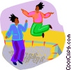 kids jumping on a trampoline Vector Clipart picture