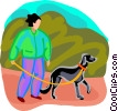 Vector Clipart picture  of a woman walking the dog