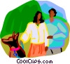 Vector Clip Art image  of a couple walking the dog