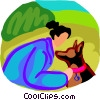 Vector Clipart illustration  of a woman with her pet dog