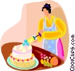 dessert cake with decorative icing Vector Clipart illustration