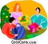 Vector Clipart picture  of a people opening gifts