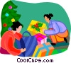 Vector Clip Art graphic  of a people opening gifts
