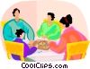 family playing a board game Vector Clip Art picture