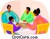 Vector Clipart picture  of a family playing a board game