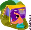 camper putting up a tent Vector Clipart picture