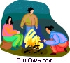 Vector Clipart graphic  of a camp fires
