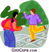 Vector Clipart graphic  of a kids playing hopscotch