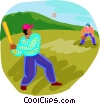 kids playing baseball Vector Clipart illustration