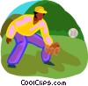 Vector Clip Art image  of a baseball player catching a