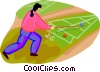 Vector Clipart graphic  of a woman playing shuffle board
