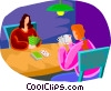 Vector Clipart illustration  of a two people playing cards