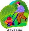 Vector Clipart picture  of a person cutting the lawn