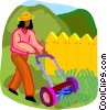 woman with a push lawnmower Vector Clipart graphic