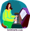 Vector Clipart picture  of a woman playing piano