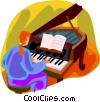 woman playing a grand piano Vector Clipart graphic