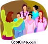 Vector Clipart graphic  of a woman conducting a choir