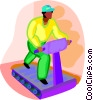 Vector Clip Art graphic  of a person running on a treadmill
