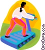 Vector Clip Art image  of a woman running on the treadmill