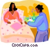 woman getting served breakfast in bed Vector Clipart picture