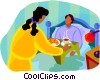 Vector Clipart graphic  of a man getting served breakfast