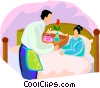 woman getting served breakfast in bed Vector Clipart illustration