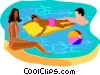 Vector Clip Art graphic  of a people relaxing in a swimming
