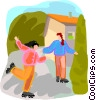 girls rollerblading in the driveway Vector Clipart image