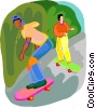 two boys on skateboards Vector Clip Art graphic