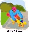 Vector Clipart image  of a boy on a skateboard
