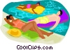 Vector Clipart illustration  of a people relaxing in the pool