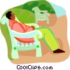 man relaxing on a park bench Vector Clipart picture