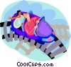people on a roller coaster ride Vector Clipart illustration