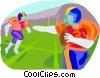 Vector Clip Art graphic  of a Football players