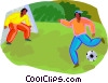 two kids playing soccer Vector Clip Art graphic
