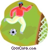 Vector Clipart graphic  of a kid playing soccer