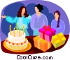 Girls at a birthday party Vector Clipart illustration