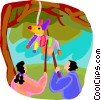 Vector Clip Art image  of a kids hitting a pinnate with