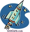 Vector Clipart illustration  of a rocket ship flying through
