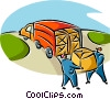 Vector Clipart image  of a men loading boxes onto a truck