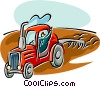 farmer plowing the fields Vector Clipart illustration