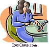 Vector Clip Art graphic  of a woman putting nail polish on