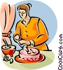 Vector Clip Art image  of a woman putting icing on a cake