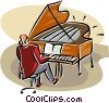 man playing a grand piano Vector Clipart graphic