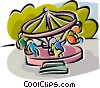 Vector Clipart graphic  of an amusement park rides