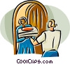 Vector Clipart illustration  of a person delivering pizza to a