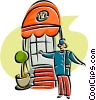 Vector Clipart graphic  of a bell hop at the entrance of