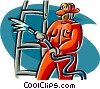 Vector Clipart graphic  of a firefighter with ladder and