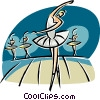Vector Clip Art graphic  of a ballerina dancing on the stage